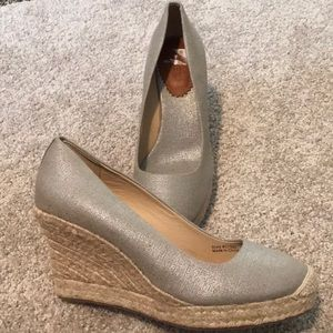 J.Crew Espadrilles wedges. Metallic canvas. New
